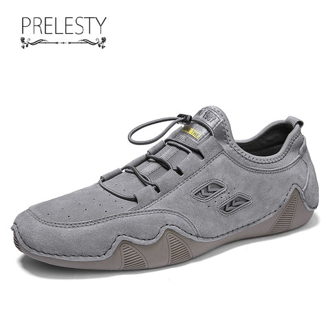 Prelesty Classic Style Men Driving Shoes Durable Genuine Cow Leather Walking Rubber Bottom