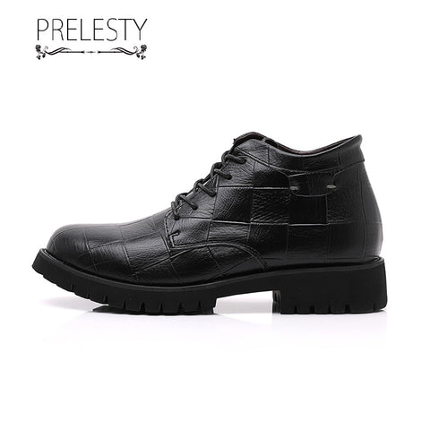 Prelesty Large Size Luxury Men Long Boots Buckle Vintage England Platforms Good Leather Plaid