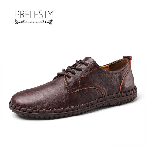 Prelesty Big Size 38~47 New Men Split Leather Driving Sneaker Shoe Comfortable