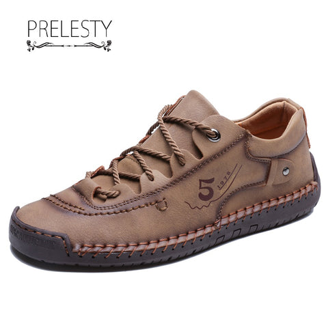Prelesty Fashion Soft Genuine Cow Leather Men Formal Shoes Handsome Comfortable Breathable Italian Design