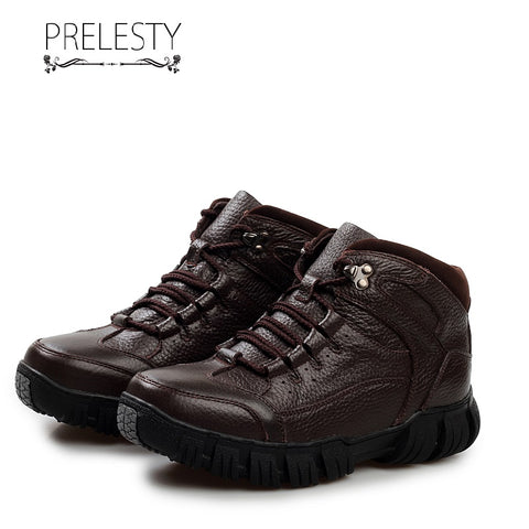 Prelesty Winter Fur Men Hiking Mountain Shoes Warm Genuine Cow Leather Waterproof Outdoor Breathable