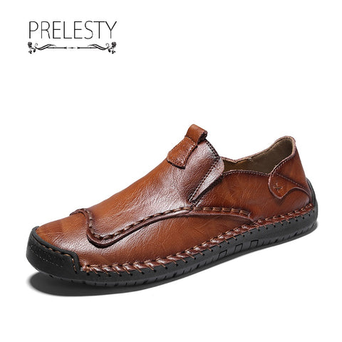 Prelesty Handmade Cow Leather Men Driving Loafer Shoes Casual Breathable Lightweight Leisure Walking