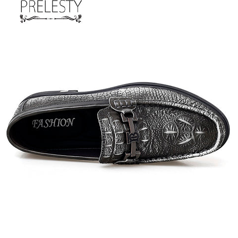 Prelesty Vintage Handmade Party Genuine Leather Formal Business Men Slip On Shoes Breathable Crocodile Skin