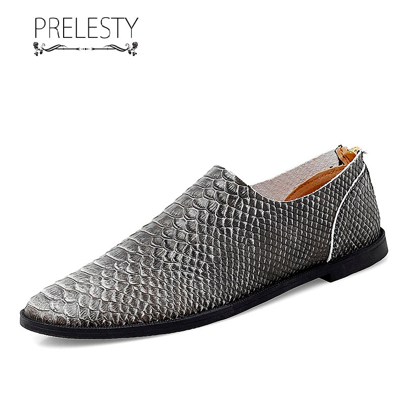 Prelesty Small Size Handmade Light Genuine Leather Casual Men Loafer Shoes Breathable Serpentine Zipper