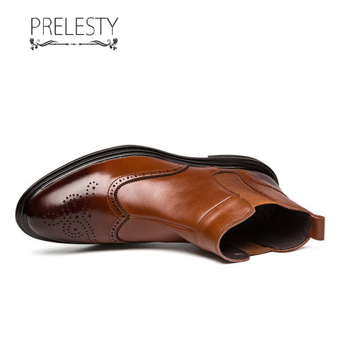 Prelesty Fashion Leather Men Chelsea Boots High Cut Shoes Vintage English Platform Formal Breathable