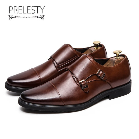 Prelesty Big Size 38~48 Leather Men Formal Shoes Pointed Toe Weddings Monk Strap Dress