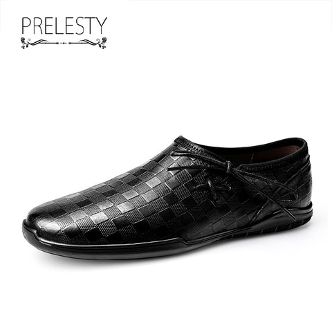 Prelesty Fashion Casual Loafer Men Driving Shoes Good Leather Handsome Walk Plaid Pattern