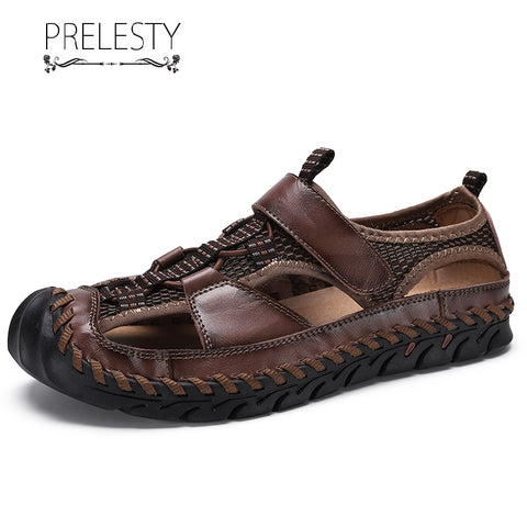 Prelesty Big Size 38~48 Summer Men's Mesh Hollow Out Leather Waterproof Sandal Shoes Soft Outdoor Breathable