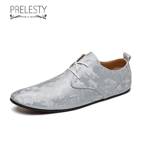 Prelesty Classic Design Men Formal Laces Shoes Business Soft Lightweight Leather Durable Comfortable Wear