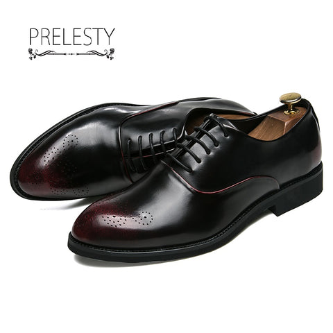 New Design Formal Mens Leather Flat Business Shoes Mens Dress Brogues Oxford