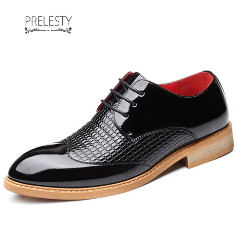 Prelesty Men Formal Shoes Smart Party Business Leather Dress Crocodile Shiny