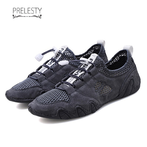 Prelesty New Summer Casual Loafer Soft Leather Men Driving Shoes Simple Lightweight Mesh Holes