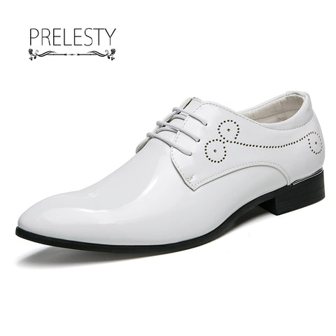 Men's Pointed Toe Dress Brogue Leather Wedding Oxford