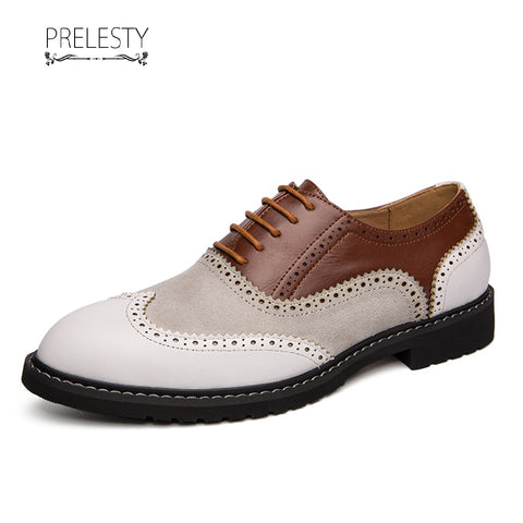 Prelesty Patchwork Wingtip Men Dress Shoes Formal Lace Up Oxfords Office Meeting Good Quality