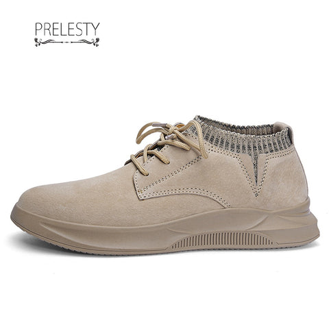 Prelesty Cool Suede Leather High Quality Fashion Hip Hop Sock Sneaker Shoes