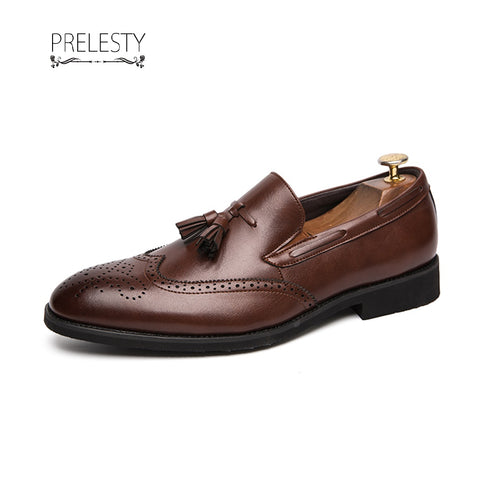 Prelesty Classic Genuine Leather Men Formal Boat Shoes Tassel Loafer Business Gentleman