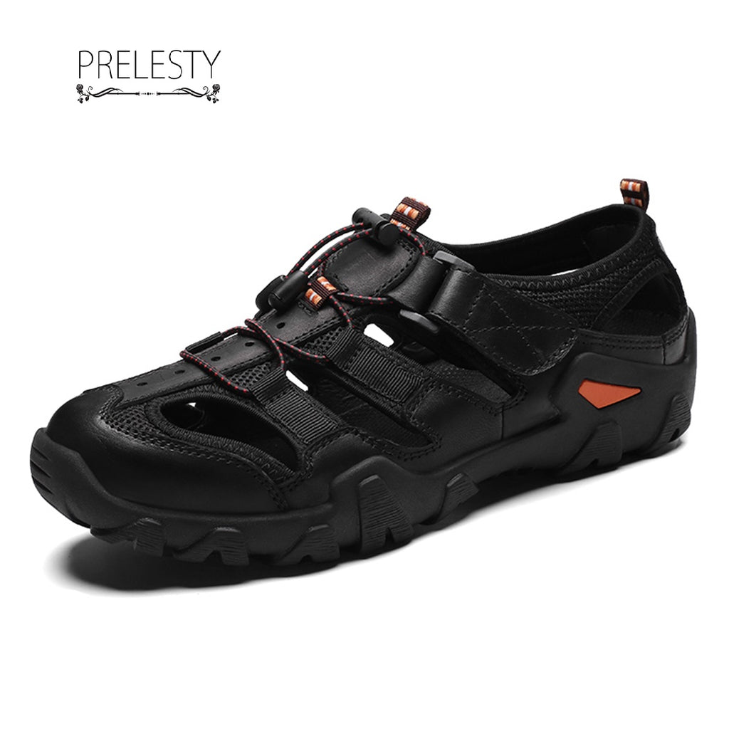 Prelesty Men Summer Sandal Handsome Design Good Leather Cool Breathable Outdoor