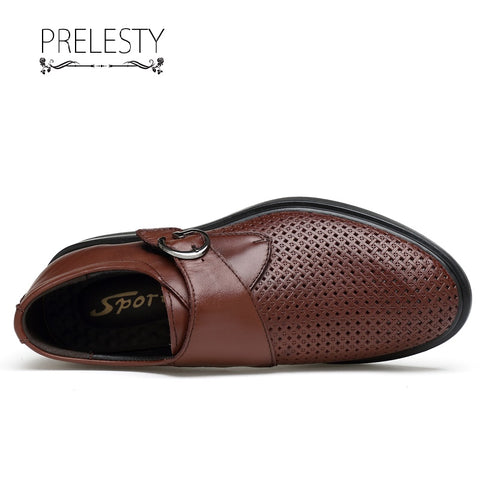 Prelesty High Quality Genuine Cow Leather Men's Hollow Out Formal Business Shoes