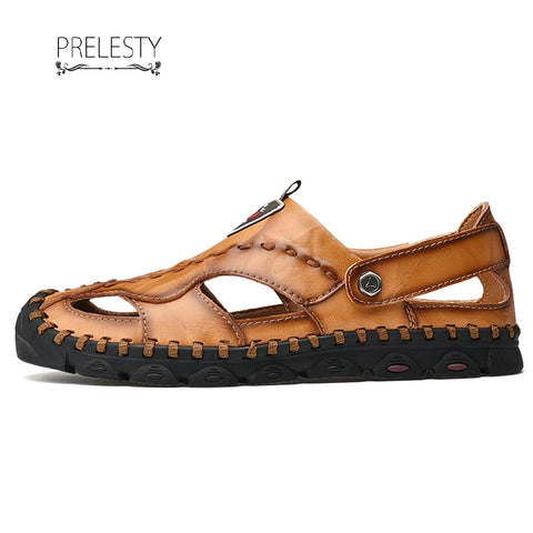 Prelesty Fashionable Men Sandal Strap Design Leather New Cool Breathable