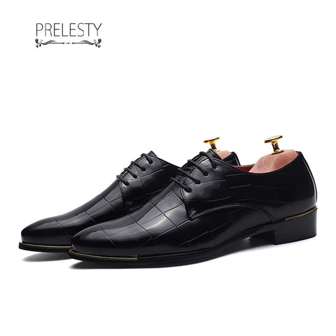 Prelesty Italian Style New Brogue Men Wingtip Shoes Leather Formal Plaid Platform