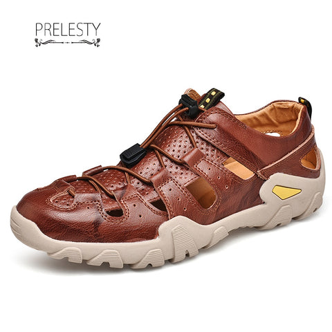 Prelesty Summer Mens Leather Sandals Gladiator Beach Shoe Breathable Soft Comfortable