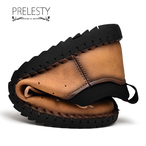 Prelesty Handmade Durable Men Dress Shoes Loafer Laces Design Genuine Cow Leather Driving Wearing
