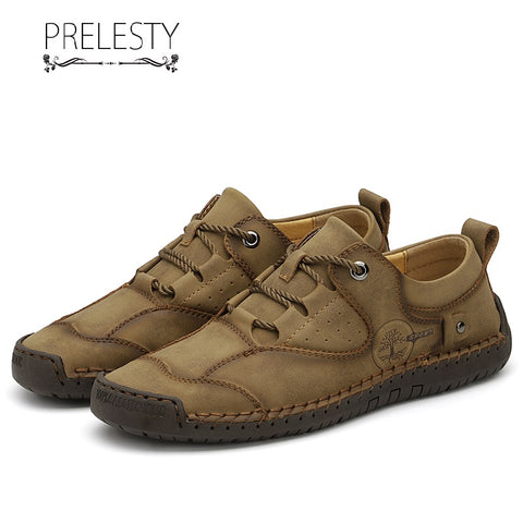 Prelesty Big Size Handmade Soft Genuine Cow Leather Men Brogues Lace Up Shoes Casual Handsome Design Durable