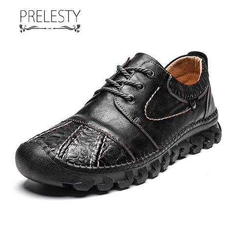 Prelesty Big Size New Men Formal Shoes Lace Up Business Genuine Leather Comfortable Handsome Hand made