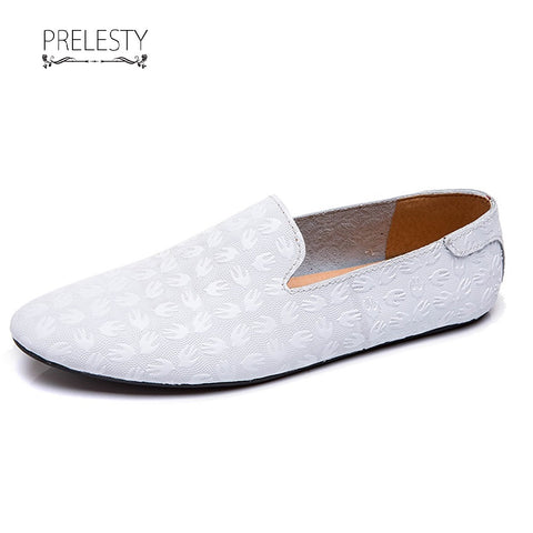 Prelesty Simple Urban Men Driving Shoes Slip On Flower Pattern Soft Leather Lightweight