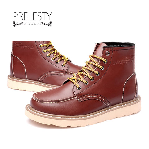 Prelesty British Winter Leather Men's Boots High Top Outdoor Ankle Mens Work Boots