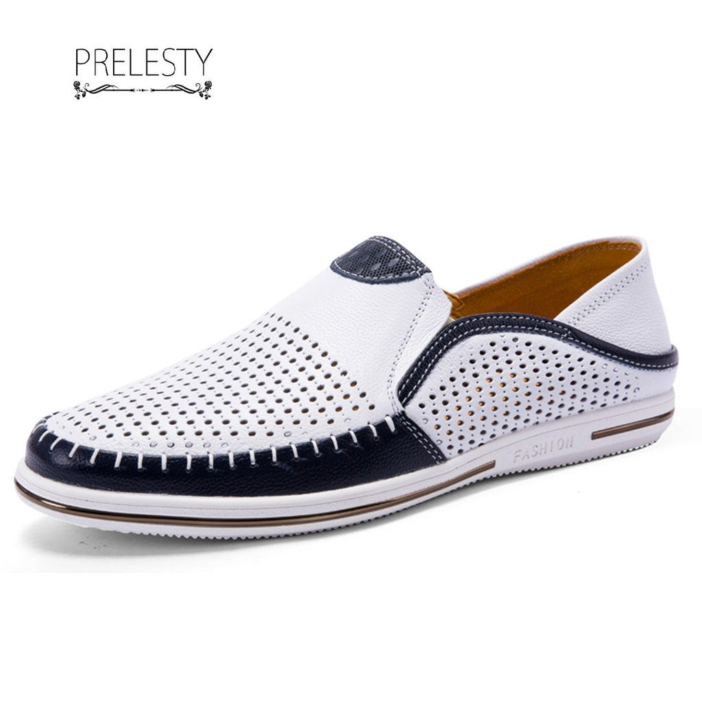 Prelesty Soft Light Men Cow Leather Loafer Shoes Smart Formal Handmade Stitching