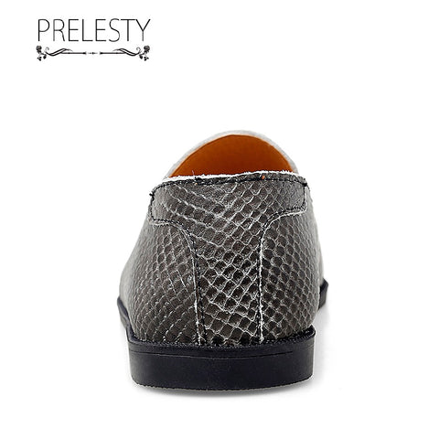 Prelesty Small Size Handmade Light Genuine Leather Casual Serpentine Skin Men Loafer Shoes Breathable