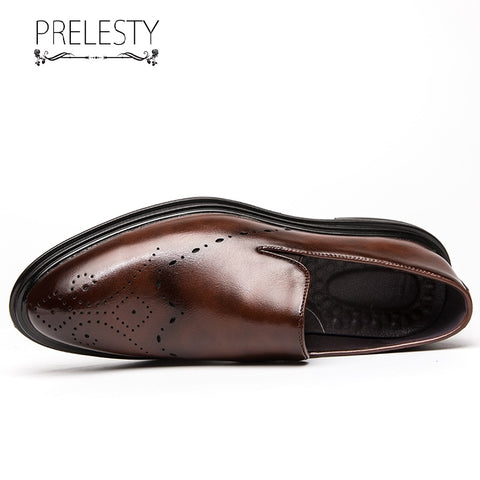 Prelesty Italian Design Men Formal Office Slip On Shoes Business Leather Party Breathable Wedding