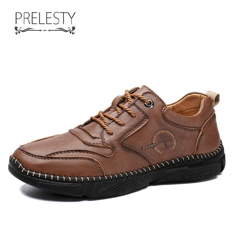 Prelesty Big Size Luxury Genuine Cow Leather Men's Formal Shoes Breathable Durable Handcraft