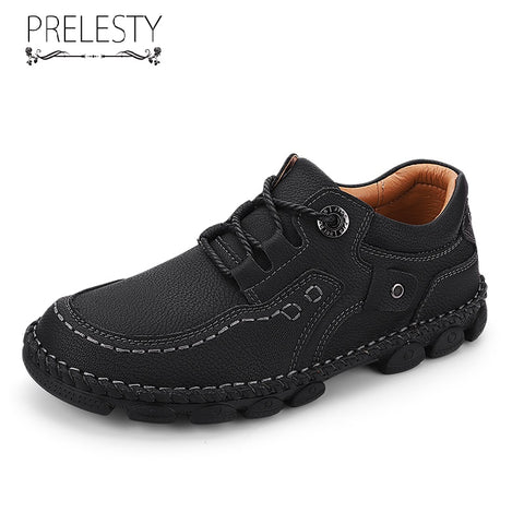 Prelesty Summer High Quality Men Hiking Shoes Handmade Cow Leather Durable Climbing Outdoor