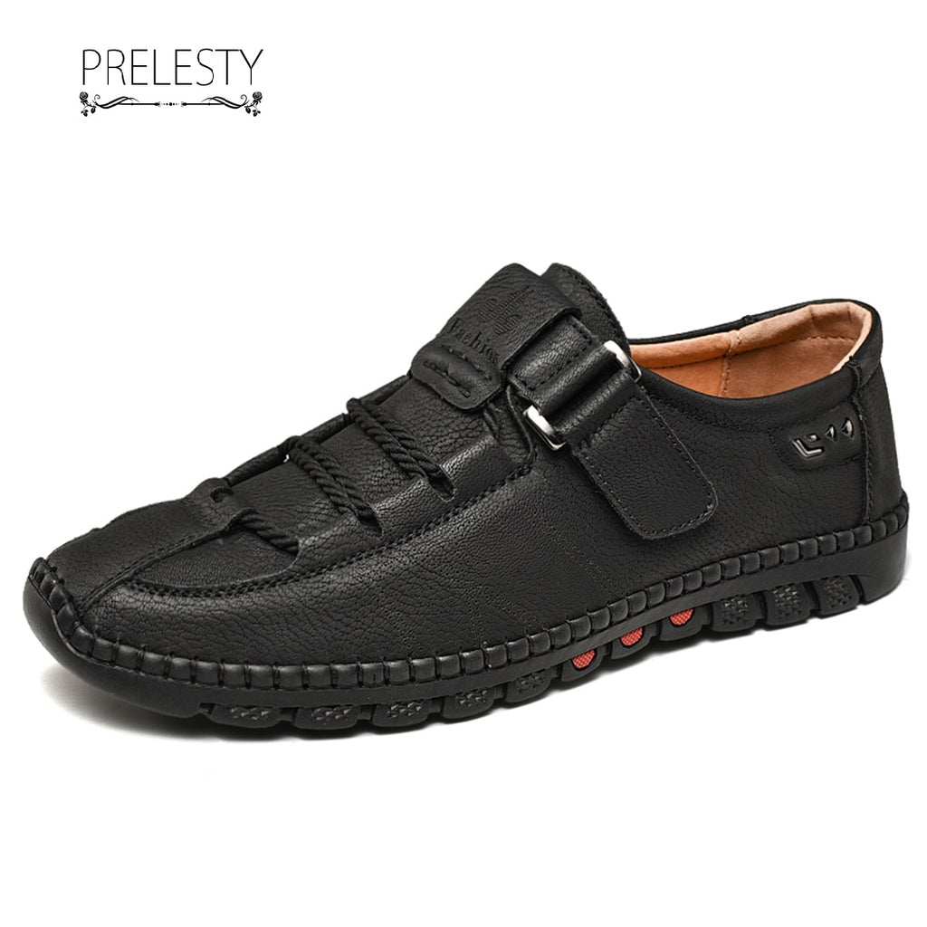 Prelesty Latest Mode Men Formal Shoes Gentleman Fashion Premium Genuine Cow Leather Driving Buckle