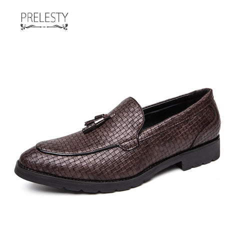 Prelesty Business Unique Wedding Men Formal Slip On Shoes Breathable Soft Leather Plaid Design