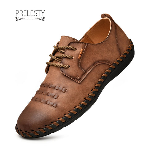 Prelesty Luxury Leather Men Dress Shoes Brogues Derbies Handmade Stitching Handsome