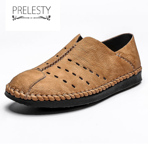 Prelesty Summer Useful Handmade Genuine Leather Casual Men Loafer Shoes Breathable Hollow Out Design