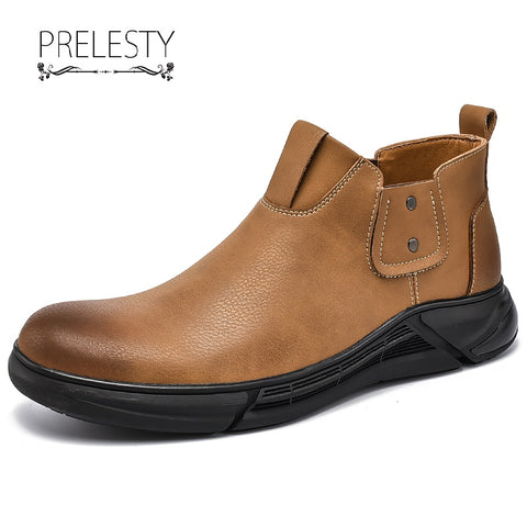 Swag Fashion Big Size Classic Men's Boots Shoes Genuine Leather Rubber Outsole