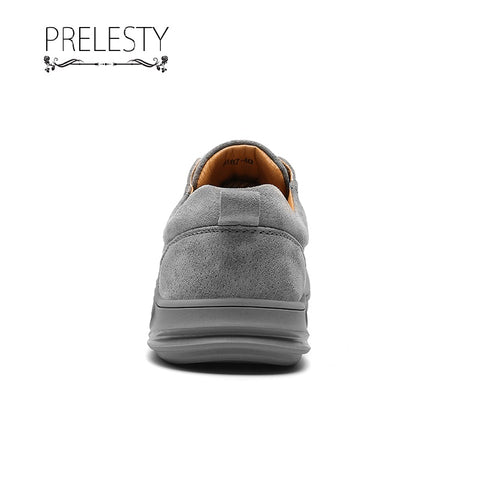 Prelesty Fashion New Men Formal Dress Shoes Genuine Leather Rubber Bottom Cap Toe Comfortable