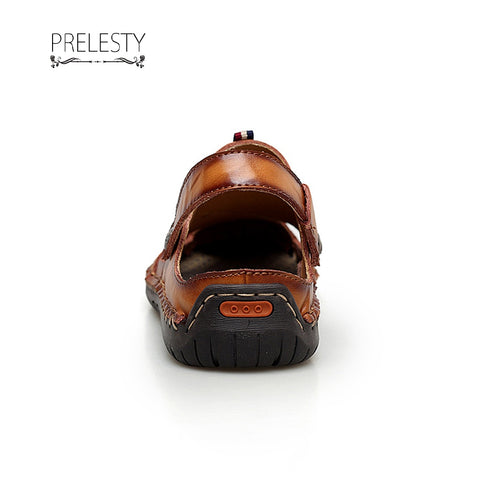Prelesty Big Size 38~48 Leather Cool Breathable Summer Men Beach Sandals
