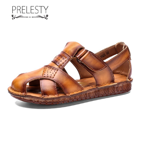Prelesty Big Size 38-48 High Quality Men's Gladiator Sandal Shoes Genuine Leather Outdoor Breathable Waterproof