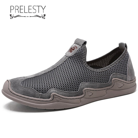Prelesty Summer Fashion Men Driving Loafer Shoes Mesh Holes Casual Breathable Lightweight Leisure Walking
