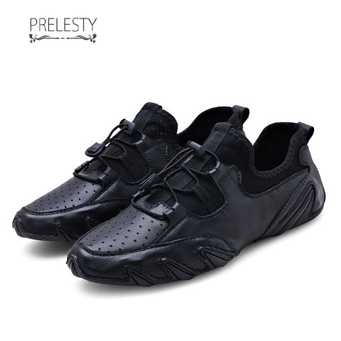 Prelesty High Quality Genuine Leather Casual Loafer Soft Men Driving Shoes Simple Lightweight