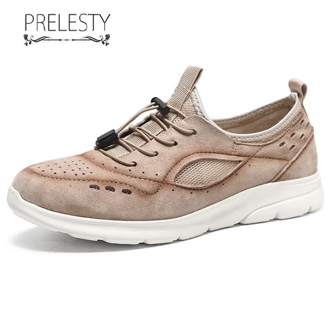 Prelesty Fashion Summer Breathable Men Formal Laces Shoes Business Classic Genuine Leather Comfortable