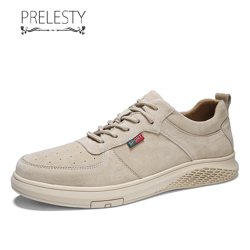 Prelesty Classic Design Soft Cool Genuine Cow Leather Men Lace Up Shoes Formal Comfortable Rubber Outsole