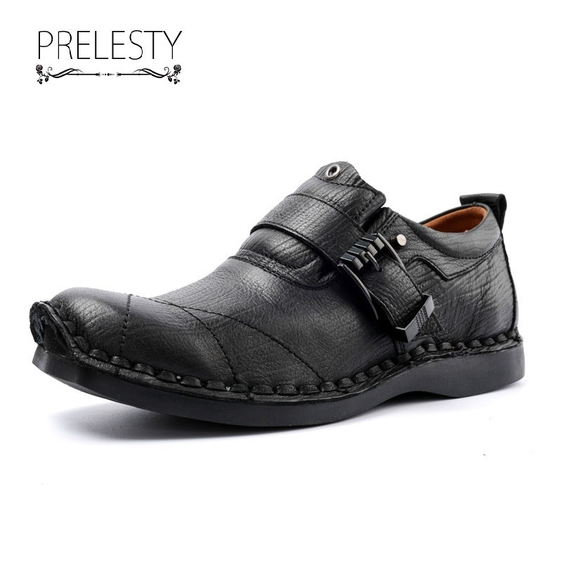 Prelesty Steampunk High Quality Men Dress Shoes Formal Slip On Metallic Buckle Business