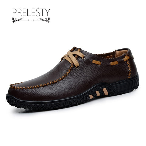 Prelesty New Material Cow Leather Men Formal Office Lace Up Shoes Business Party Soft Lightweight