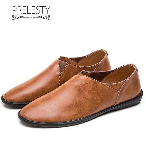 Prelesty Summer Simple Handmade Genuine Leather Casual Men Loafer Shoes Breathable Comfortable Lightweight